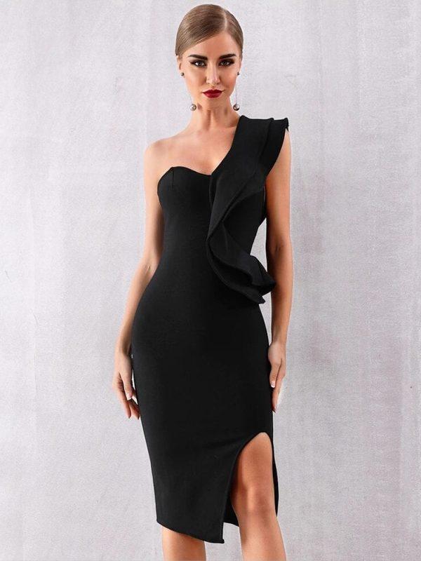 Little Black One Shoulder Ruffles Bodycon Dress