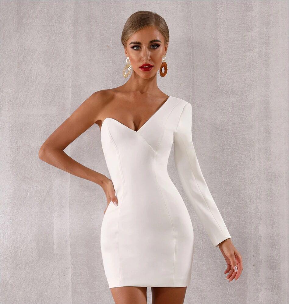 V-neck One Shoulder White Bodycon Dress