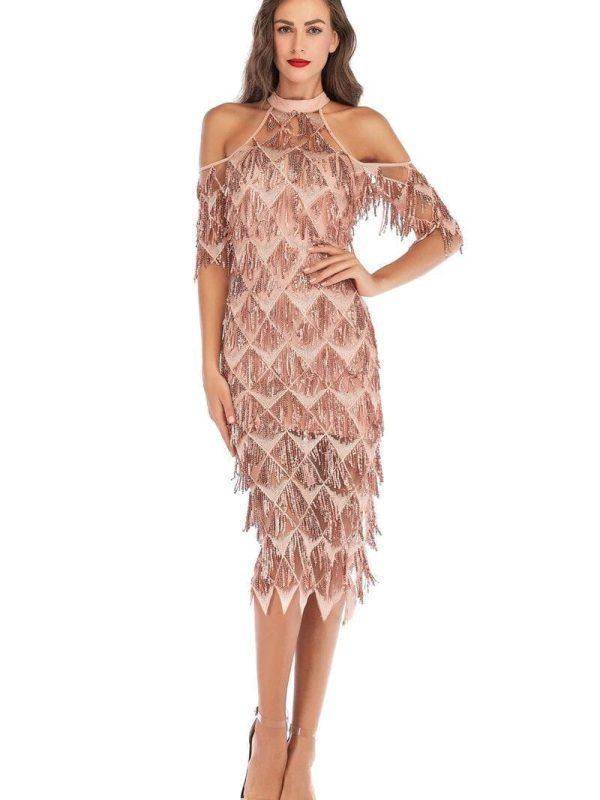 Elegant Halter Neck Off Shoulder Tassel Sequin Dress