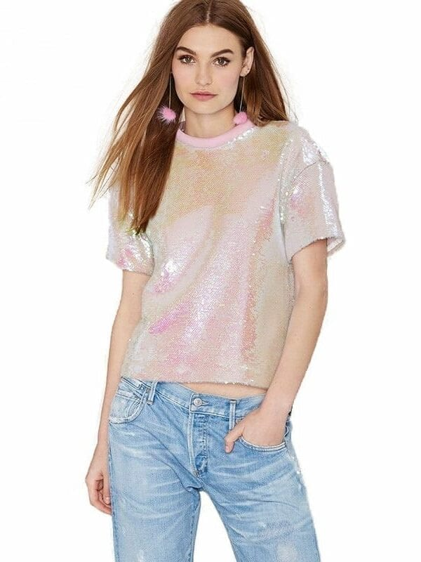 Sequined O-neck Short Sleeve Loose Top T-shirt