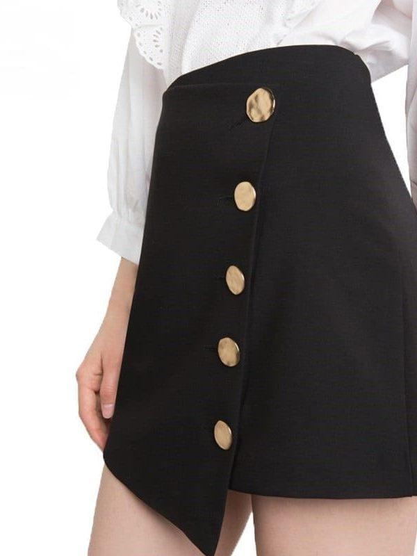 Black High Waist Asymmetrical Button Mini Skirt