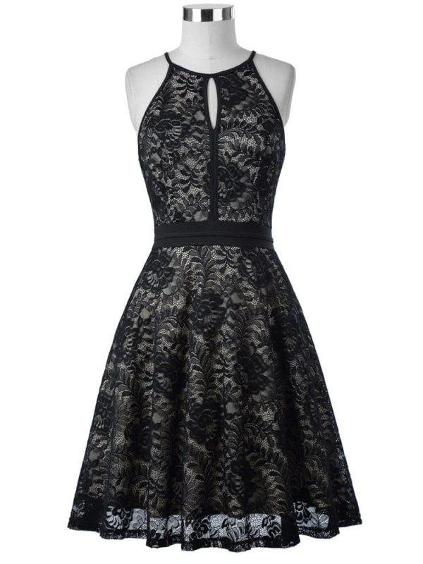 Vintage Black Lace Sleeveless Knee-length Dress