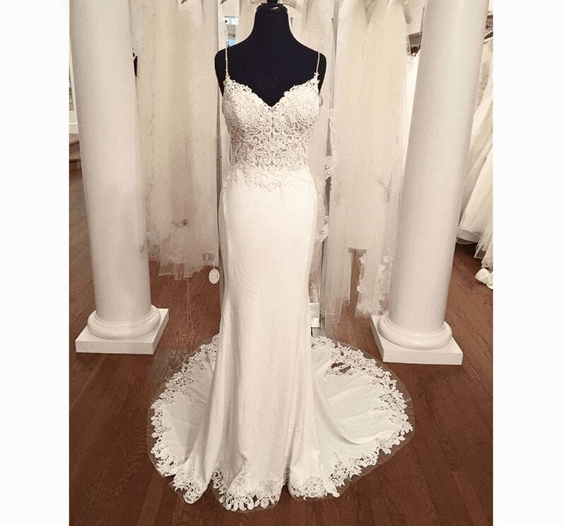 V Neck Lace Appliques Boho Backless Mermaid Wedding Dress