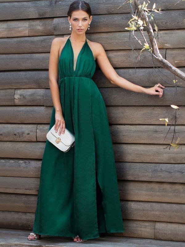 2179981bc17cfe High Slit Plunge Neck Cross Back Green Sleeveless Wrap Satin Maxi Dress -  Uniqistic.com