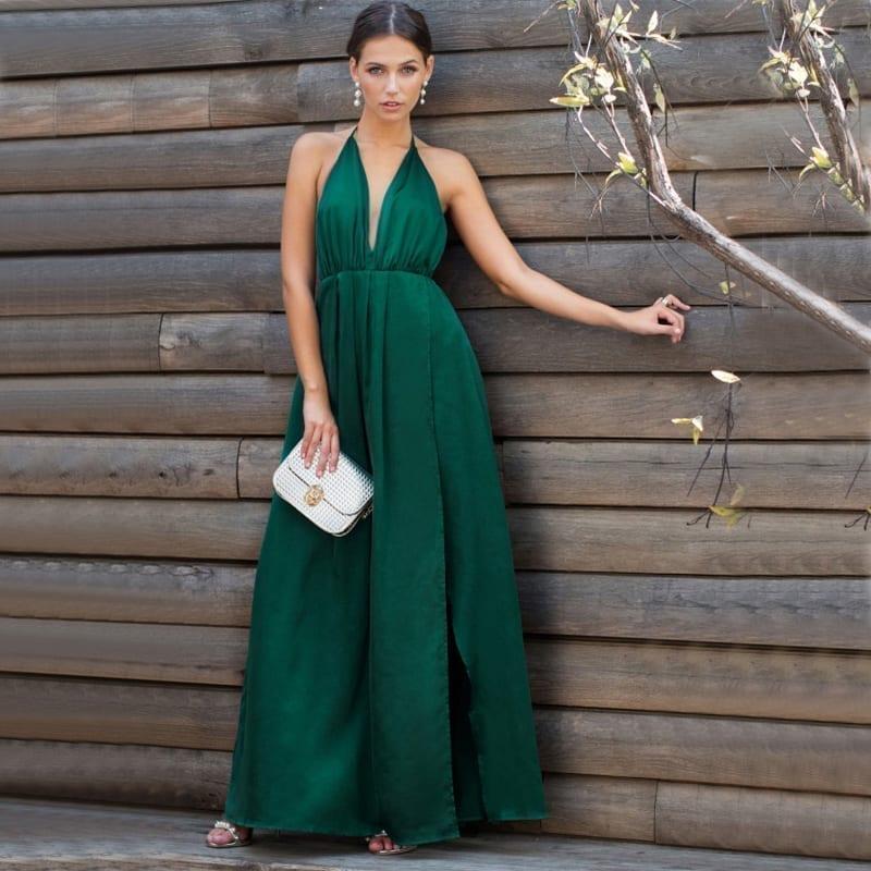 High Slit Plunge Neck Cross Back Green Sleeveless Wrap Satin Maxi Dress