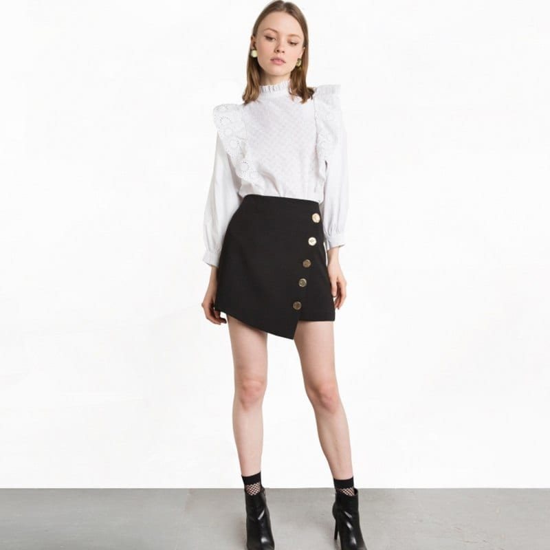 Black High Waist Asymmetrical Button Mini Skirt