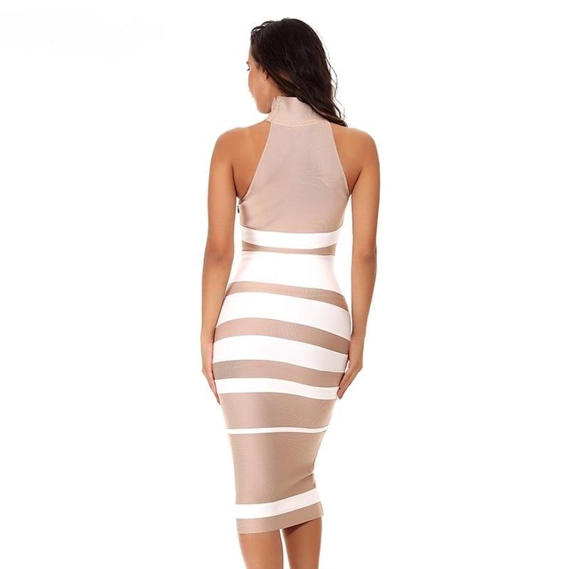 Elegant Nude&white Stripe Bodycon Bandage Dress