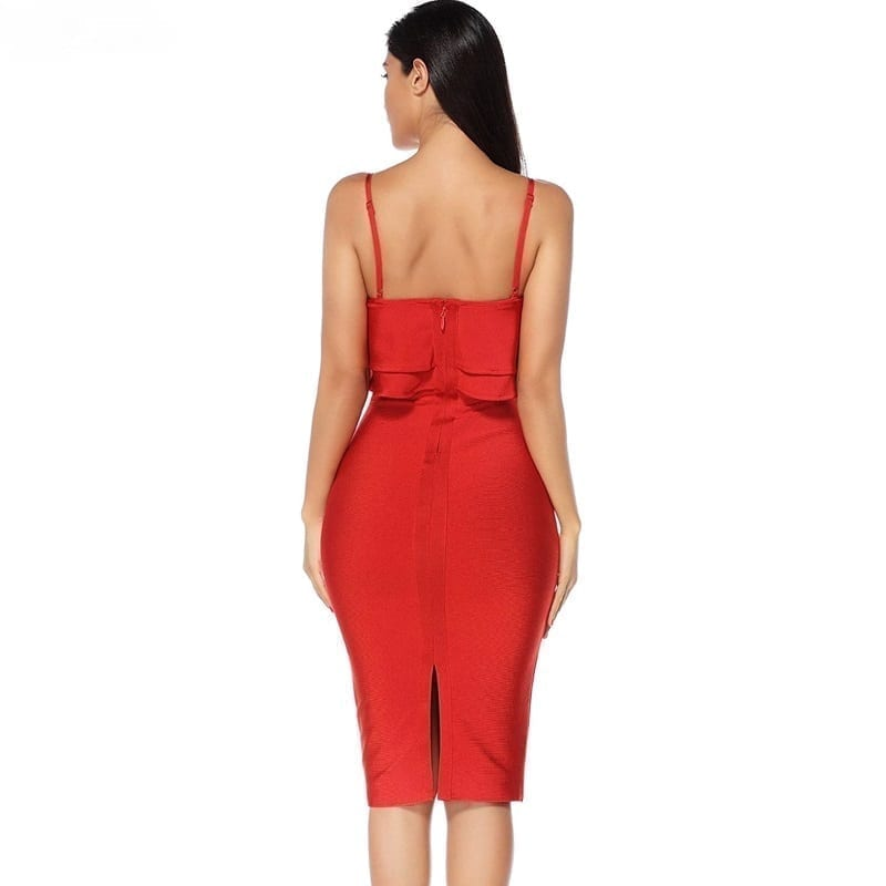 Elegant Ruffles Red Bodycon Midi Dress