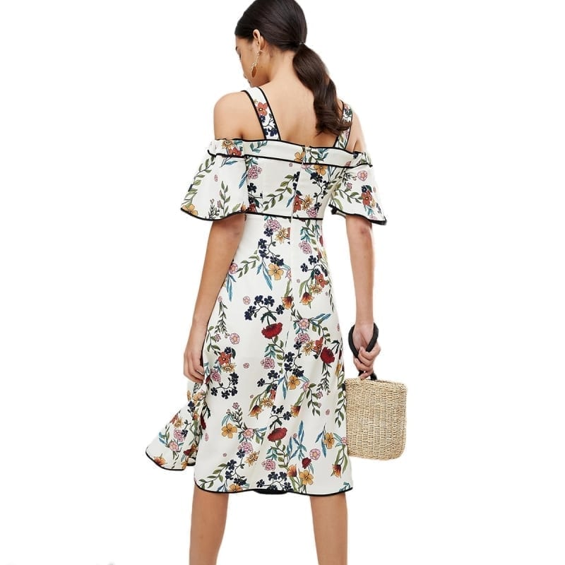 Bohemian Floral Print Cold Shoulder Midi Strap Slash Neck Ruffle Short Sleeve Side Split Wrap Dress