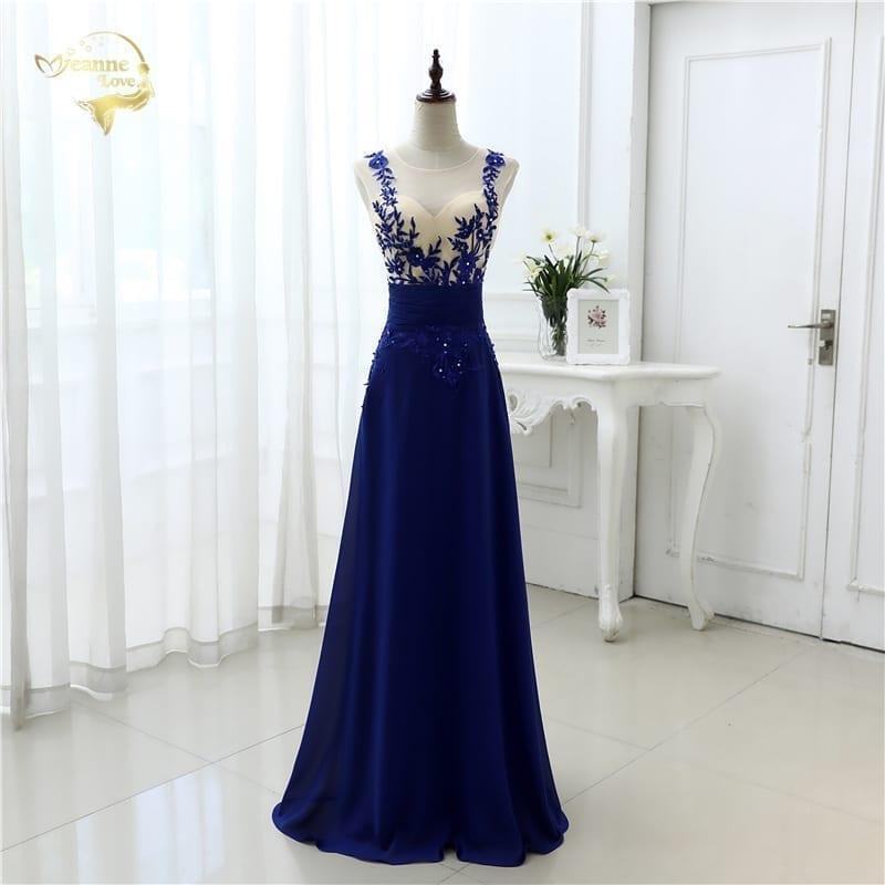 Elegant Chiffon Blue Long Evening Dress