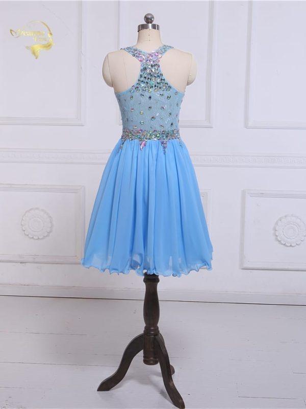 Transparent Zipper Side Beading Crystal Chiffon Knee Length Cocktail Dress