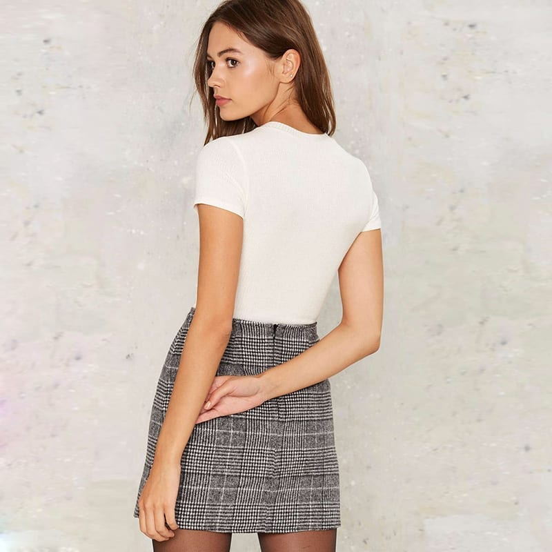 Pencil High Waist Plaid Buttoms Zipper Back Office Mini Skirt