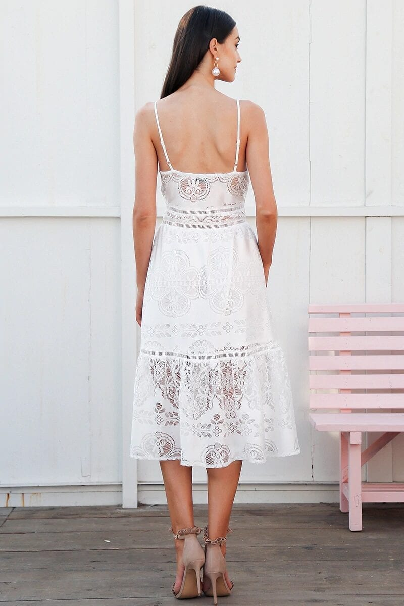 White Strap Backless V Neck Button Lace Dress
