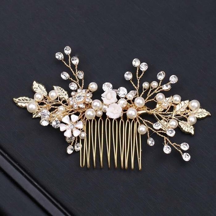 Gold Leaf Flower Pearl Rhinestone Hair Comb Wedding Hair Jewelry