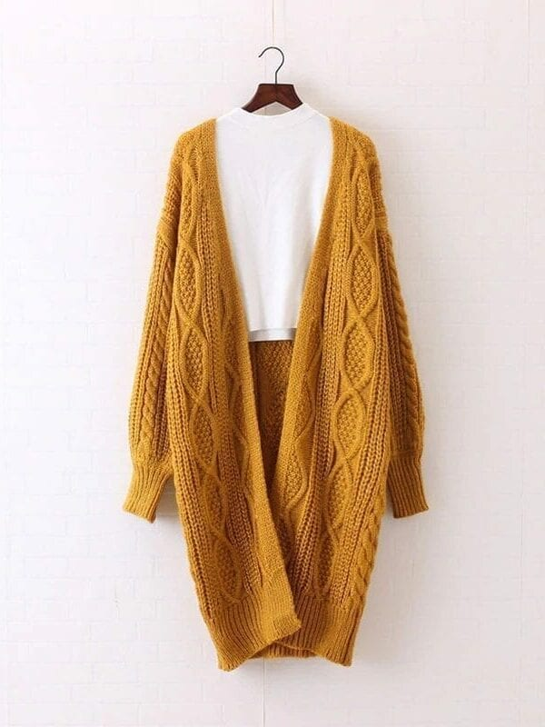 Open Stitch Lantern Sleeve Knitted Long Sweater Cardigan