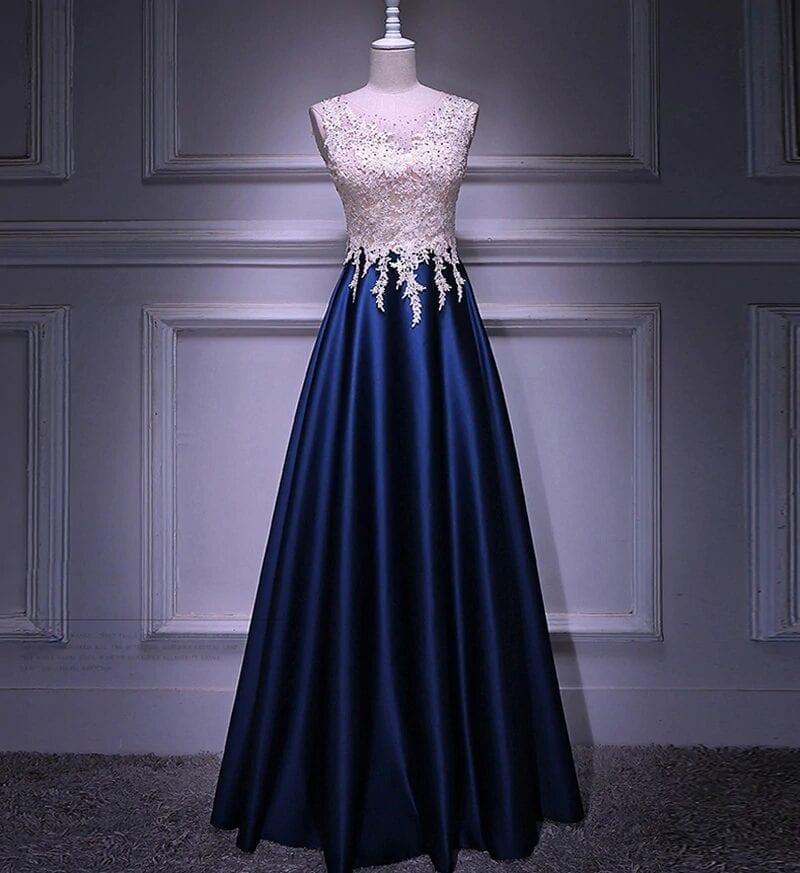 Sleeveless A-line Beading Crystal Long Evening Dress