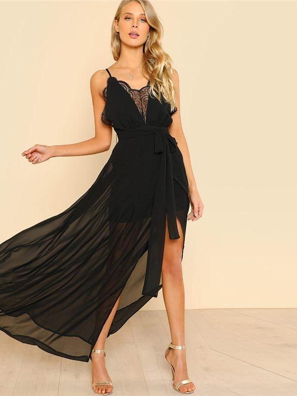 Black Backless Lace Plunge V Neck Maxi Dress