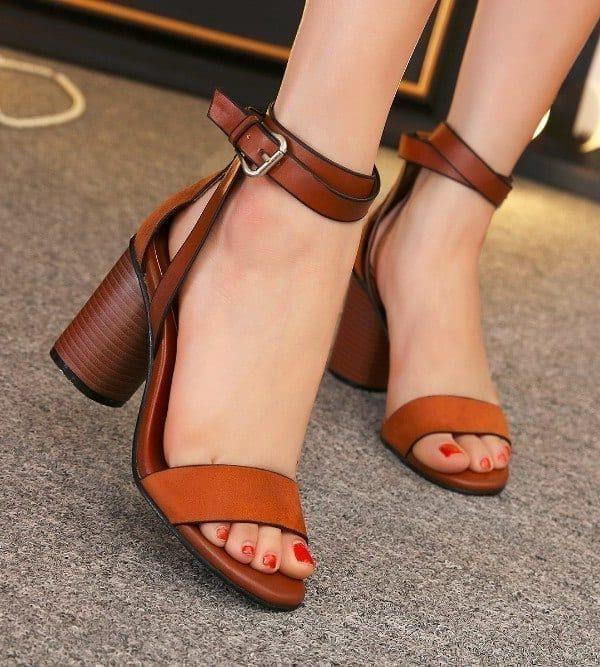 Cover Heel Buckle Strap High Heel Sandals