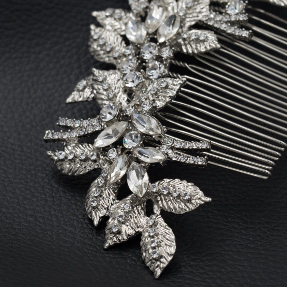Clear Rhinestone Crystal Leaves Flower Wedding Hair Comb Bride Hair Jewelry