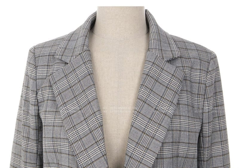 Elegant Gray Bow Sashes Split Sleeve Plaid Office Blazer Jacket