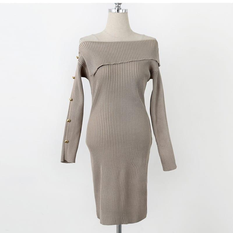 Rivet Knitted Khaki Slash Neck Sweater Dress