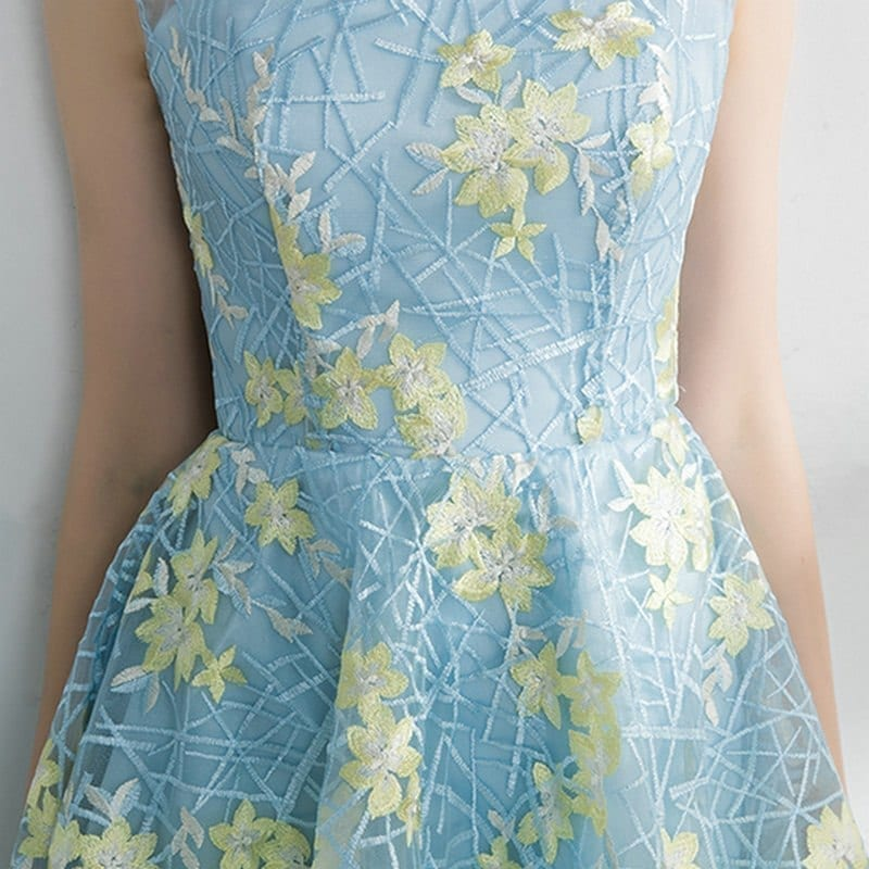 0225670783f94e Contrast Color Embroidery Short Front Long Back Prom Dress ...