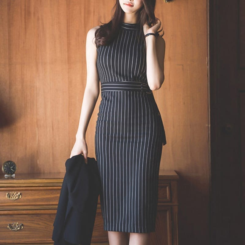 Elegant Striped Sleeveless Office Lady Work Dress