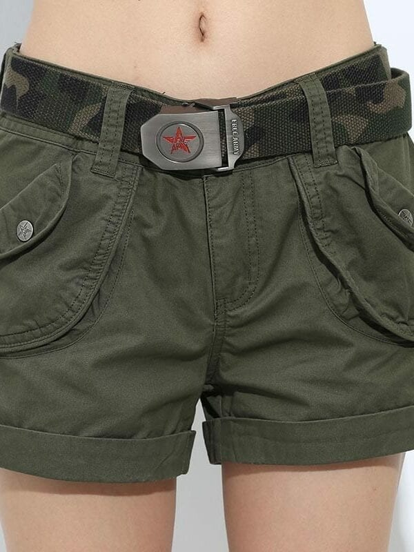 52858a2a1ed1 Loose Pockets Zipper Military Army Green Shorts - Uniqistic.com