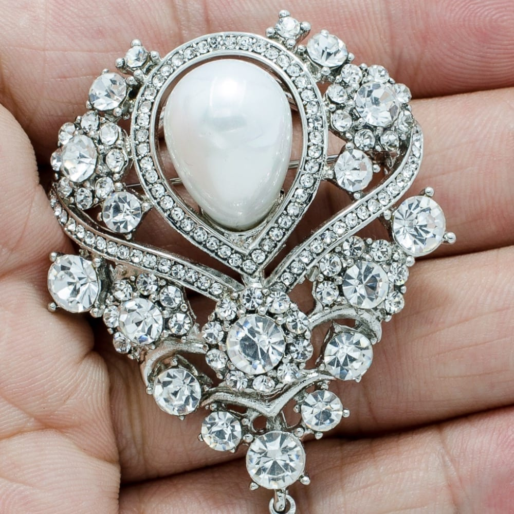 Rhinestone Crystal Drop Wedding Bridal Brooch Jewelry