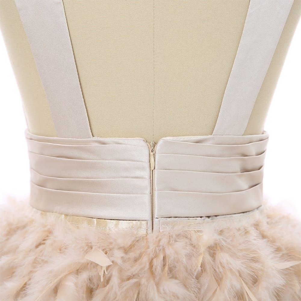 Open Back Sheath Deep V-neck Short Mini Feather Cocktail Dress