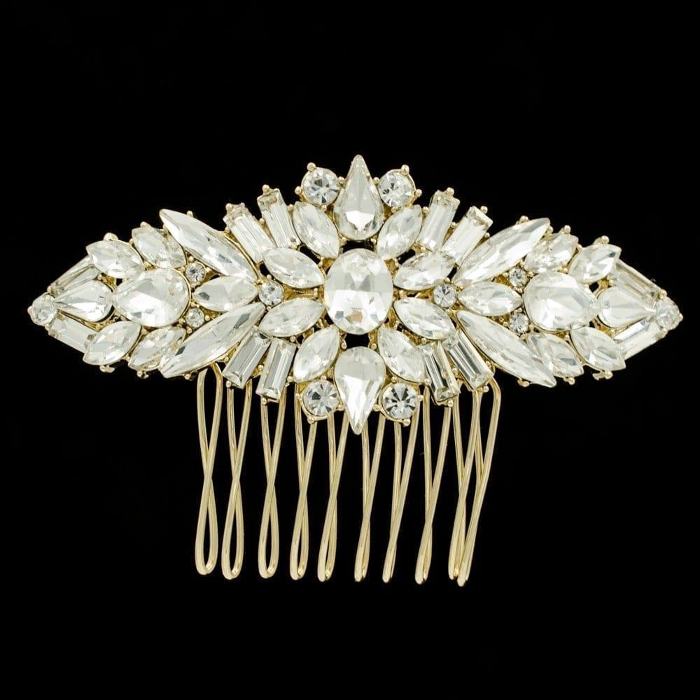Gold Silver Rose Gold Rhinestone Crystal Flower Wedding Hair Comb Jewelry