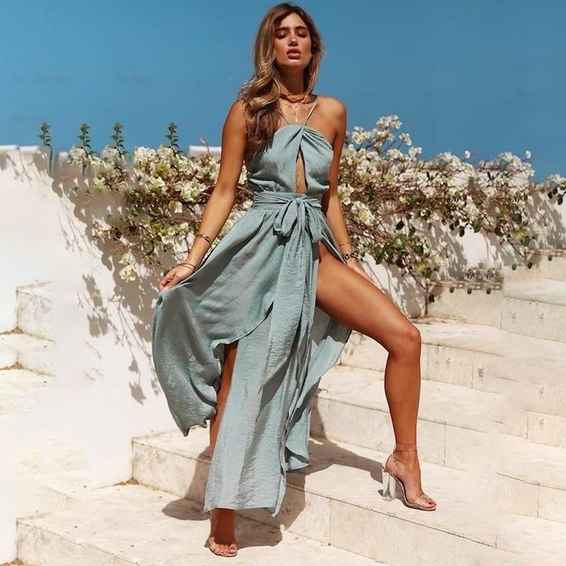 Pink Blue Split Backless Halter Long Maxi Beach Dress