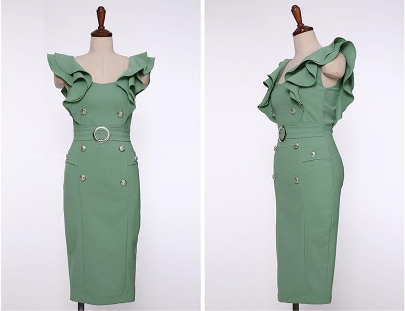 Ruffle Front Buttons Green Pink Bodycon Dress