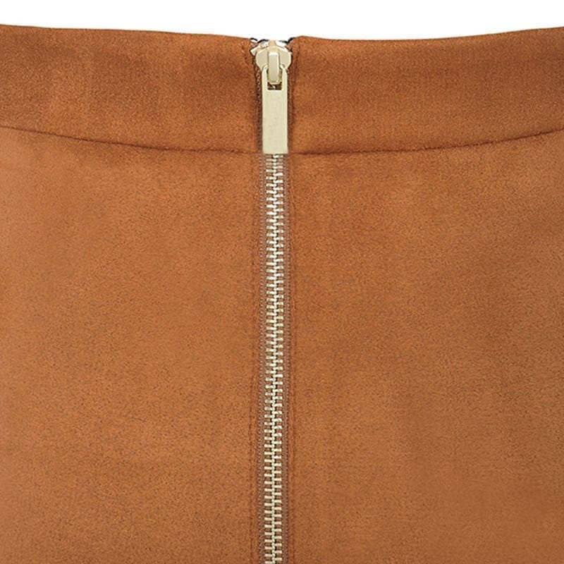 Suede High Waist Two-way Zipper Through Pencil Midi Skirt