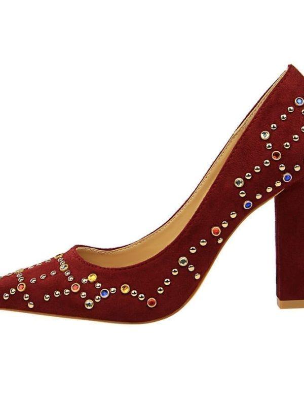 Elegant Pointed Toe Crystal Block 9cm High Heels Pumps