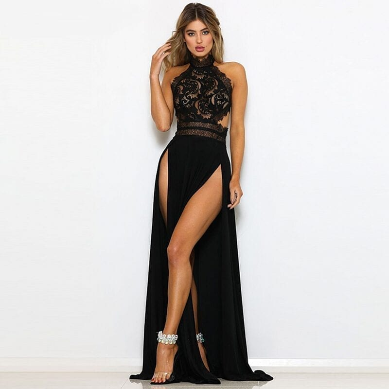 Black Red Split Hollow Out Lace Backless Long Maxi Dress