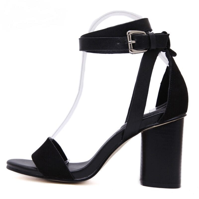 Cover Heel Buckle Strap High Heel Sandals