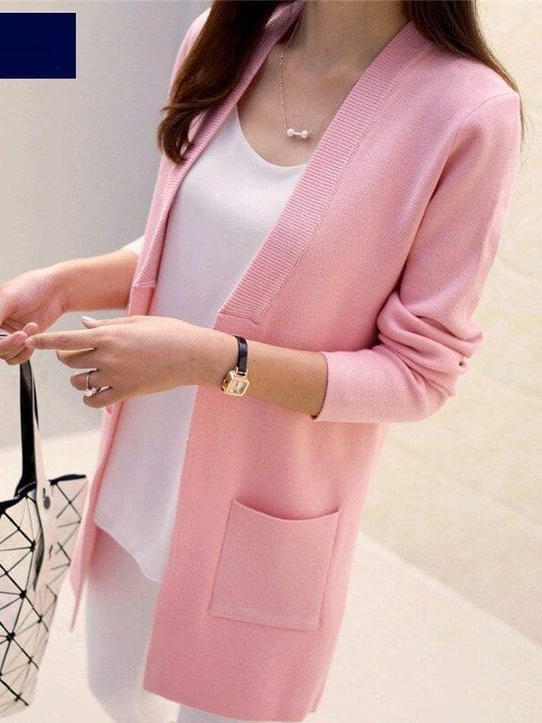 Elegant Pocket Knitted Sweater Cardigan