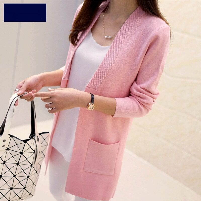 Elegant Pocket Knitted Sweater Cardigan