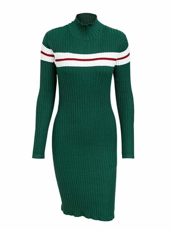 Striped Sweater Knitted Bodycon Dress