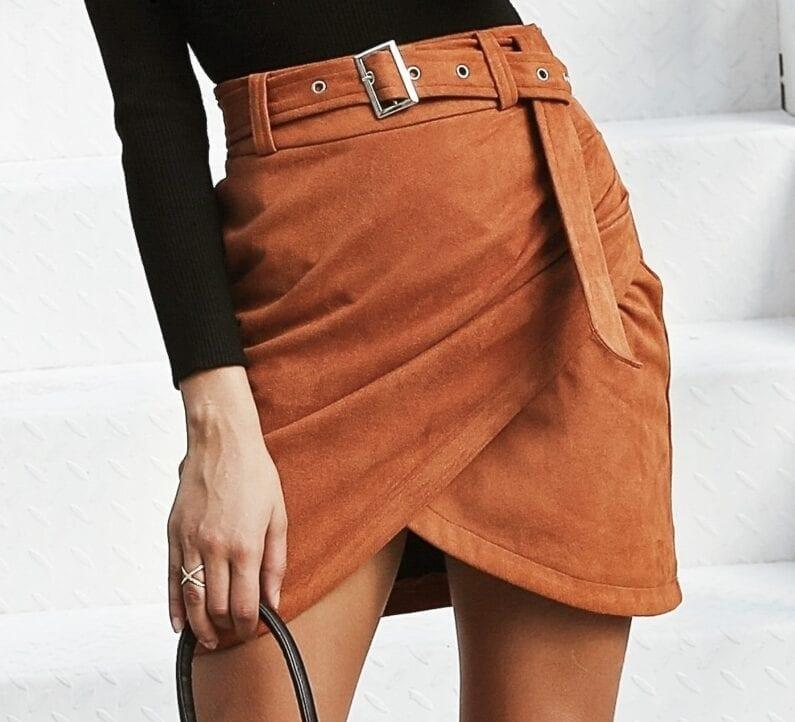 High Waist Belt Suede Irregular Bodycon Mini Skirt
