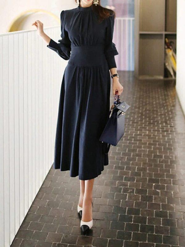 Dark Blue Stand Collar Lantern Sleeve A-line Office Dress