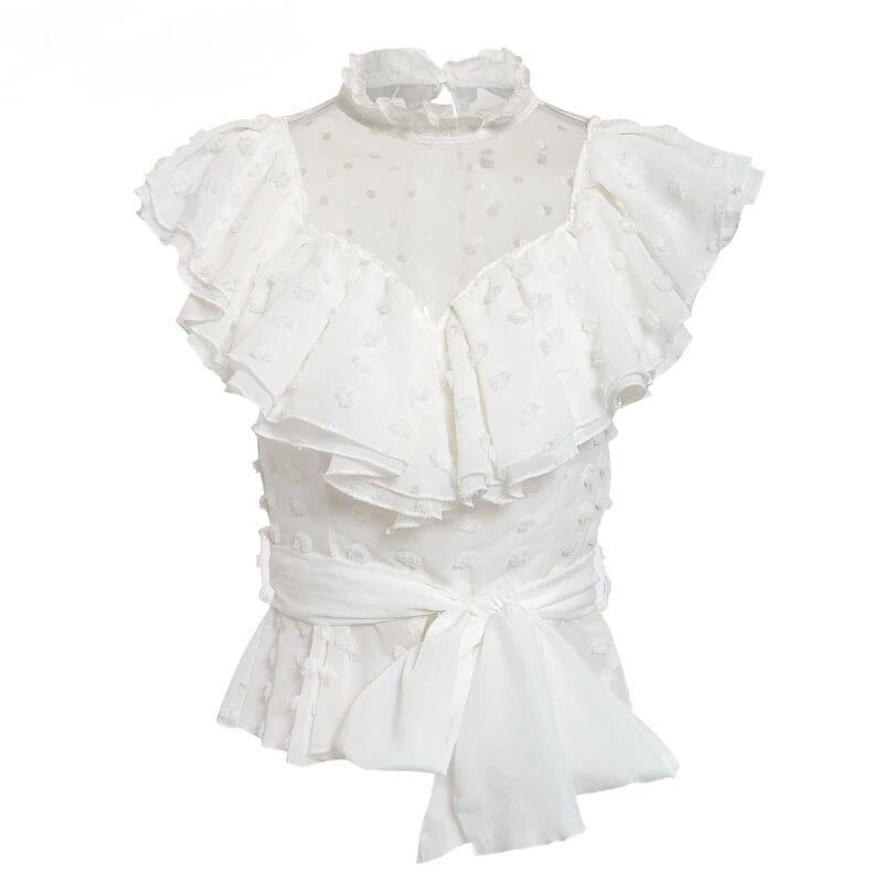 White Lace Flower Mesh Ruffled Chiffon Sleeve Blouse Shirt