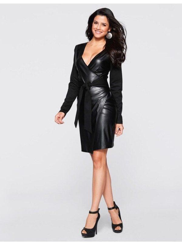 Chic Black Long Sleeve Pu Dress