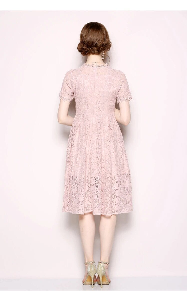 Pink Lace Knee-length Office Work Dress