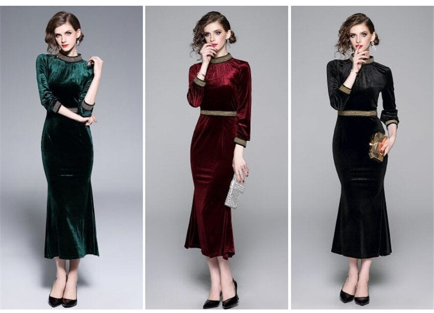 Elegant Wine Red Black Green Velvet Dress