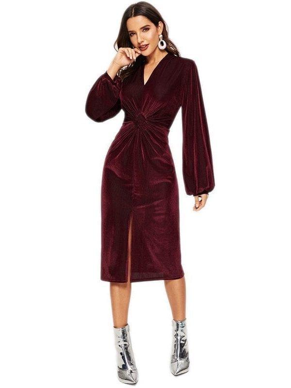 Burgundy Long Sleeve Velvet V-neck Dress