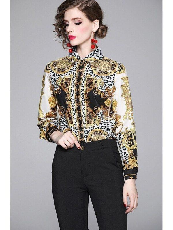 Elegant Leopard Print Women Blouse Shirt