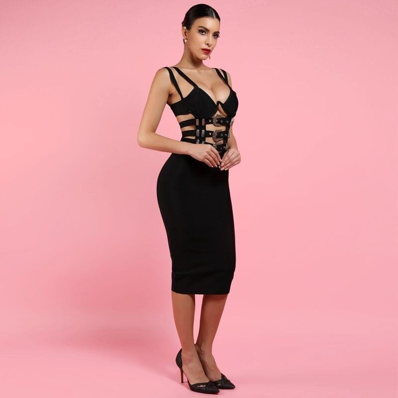 Black Burgundy V Neck Bodycon Bandage Dress