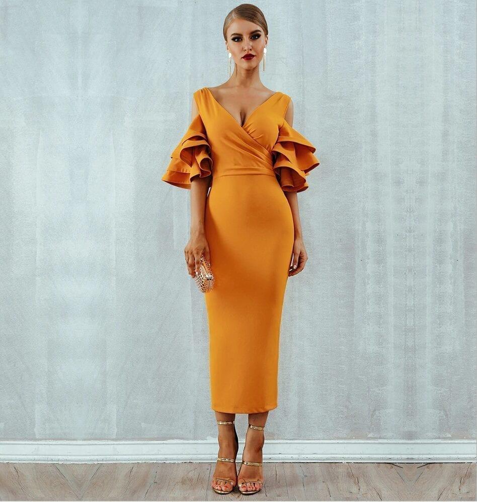 Off The Shoulder Butterfly Sleeve V Neck Dress